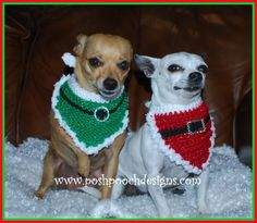 (4) Name: 'Crocheting : Christmas Santa Dog  2 Bandanna Patterns