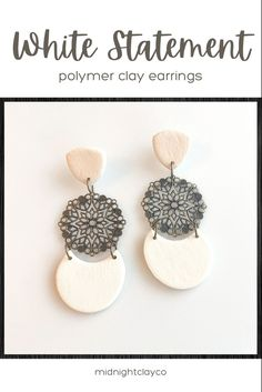 White leather effects polymer clay earrings. Tiered earrings with antique bronze filigree connectors. Classy earrings perfect for a work outfit or for bridesmaids. Give as a unique birthday gift for sister, aunt, or daughter. Shop these boho chic handmade statement earrings for women in my etsy shop! Birthday Gifts For Sister, Unique Birthday Gifts, Sister Gifts, White Earrings, Statement Earrings, Women's Earrings, Summer Jewelry, Polymer Clay Earrings, Aunt