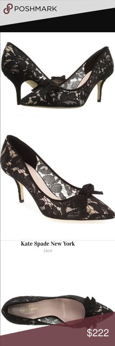 """Kate Spade Joce velvet bow lace pump A velvety bow and delicate floral lace add to the ladylike charm of a party-ready pump crafted in Italy with a pointy toe for a flattering, leg-lengthening effect. Cushioned footbed Textile and leather upper/leather lining and sole By kate spade new york; heel height: 2 3/4"""". Color:BLACK. Brand new without a box. no trades, price is firm kate spade Shoes Heels"""