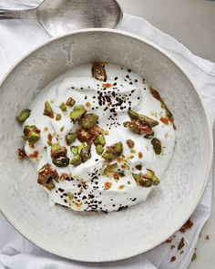 Greek Yogurt with Caramelized Pistachios and Raw Licorice
