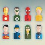 Free Set of Flat Super Heroes Busts