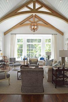 vaulted ceiling, white oak beams, large bay window, Amanda Orr Architects