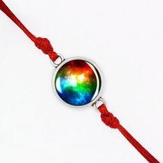 Colorful Nebula Bracelet, Red Cord Bracelet, Solar System Jewelry,Handmade Glass Dome Jewelry, Galaxy Jewelry, Nebula Jewelry BCZE01R02K08