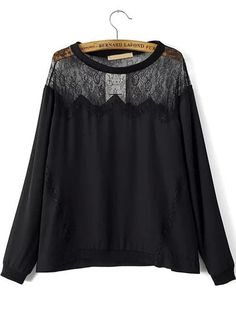 Black Round Neck Sheer Lace Loose Blouse