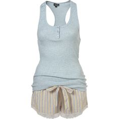Multi Stripe Shorts And Rib Vest Pj Set ($36) ❤ liked on Polyvore featuring intimates, sleepwear, pajamas, pijamas, pyjamas, women, cotton sleepwear, striped pjs, striped pajamas and cotton pajama set