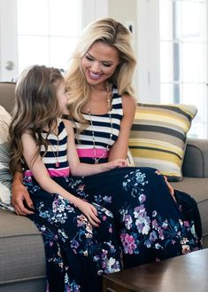 Mommy Made in Heaven Striped Floral Maxi Dress Navy Mommy And Me Dresses, Mommy And Me Outfits, Kids Outfits, Floral Maxi Dress, Striped Dress, Utah Boutiques, Matching Outfits, Matching Clothes, Modern Vintage Boutique