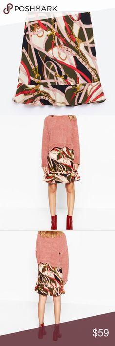 "Zara Graphic Fall Print Peplum Skirt Zara Printed Peplum Skirt. NWT, Never worn. Length measures 19"". Waist measures up to 30"". Zara Skirts"