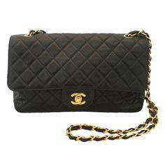 Chanel Vintage Black Lambskin Single Flap Handbag-GHW  3509b7fa3d97b