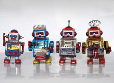 Wind up tin toy robots set of 4 wonderful toy by RetroTalk on Etsy, $55.00