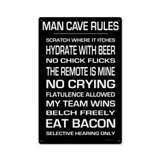 From the KegWorks licensed collection, this Man Cave Rules metal sign measures 12 inches by 18 inches and weighs in at 2 lb(s). This metal sign is hand made