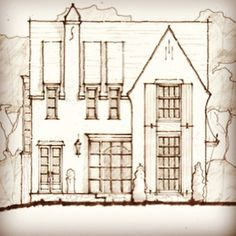 Excited seeing our Village House come together English Arts and Crafts, steel entry vestibule, 2 story shutters Traditional Exterior, Traditional House, Floor Plan Sketch, Small Luxury Homes, Architect Drawing, Stucco Homes, French Style Homes, House Drawing, Village Houses