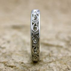 Handmade Flower Patterned Wedding Band in 14K White Gold with Scrolls and Glossy Finish Size 6/3mm $525.00