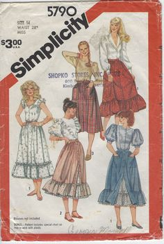 Button Front Prairie Skirt and Petticoat Sewing Pattern - Simplicity 5790 - Size 14 Fits Waist Uncut by Shelleyville on Etsy Vintage Dresses, Vintage Outfits, Vintage Fashion, Vintage Wardrobe, Vintage Couture, Vintage Style, Simplicity Sewing Patterns, Vintage Sewing Patterns, Envelope Skirt