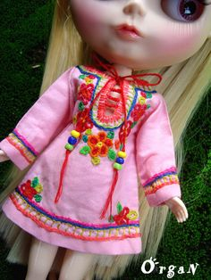 OOAK Little India ART Tunic Light Pink DRESSwith hand by organ111, $18.50