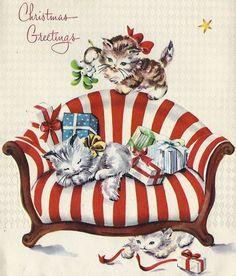 Christmas cats -- vintage Christmas Greetings