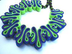 Felt Necklace, Felt Jewelry, Bib, Eco Recycled, Free Form, Neon Green Aqua Blue Purple Bead Necklace, Felt Jewelry, Peacock Felted Necklace