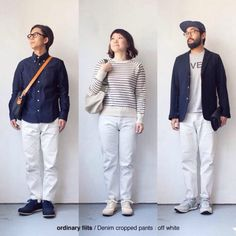 [Men's&Ladies']ordinary fits / Denim cropped pants : white