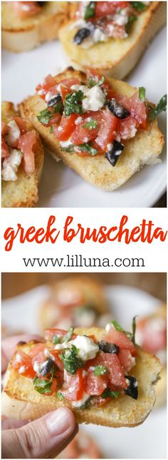 Quick, simple and delicious Greek Bruschetta filled with tomatoes, olives, feta, cilantro and Greek dressing.