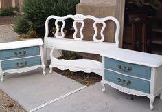 Vintage Drexel nightstands headboard and footboard refinished follow us at https://m.facebook.com/Twistedvintageaz?ref=bookmark