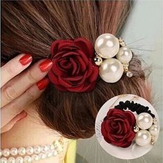 STEVE YIWU Women Girls Fashion Ponytail Holder Hair Faux Pearls Camellia Flower Rose Hair Rope Ring Elastic Tie Hair Rope Accessories (Red) >>> Click image for more details. (Amazon affiliate link)