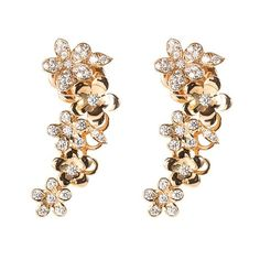 Anyallerie 'Mini Flower' diamond 18k rose gold climber earrings (59.456.140 IDR) ❤ liked on Polyvore featuring jewelry, earrings, metallic, diamond jewelry, earring charms, flower earrings, rose gold charms and rose earrings