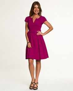 Bengaline V-Neck Dress - Update your day-wear with this bengaline dress designed with a flirty full skirt and finished with a seductive v-neck.