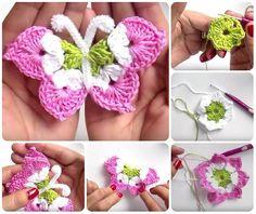 how to make butterfly crochet video tutorials Crochet Butterfly Free Pattern, Owl Crochet Patterns, Crochet Lace Edging, Crochet Leaves, Crochet Motifs, Crochet Flowers, Crochet Stitches, Beau Crochet, Crochet Cord