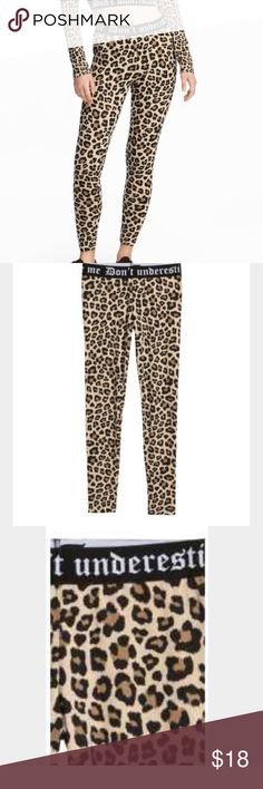 "Jersey Leopard Print Leggings Stylish Leopard print Leggings Leggings in cotton jersey with an elasticized waistband. The words ""Don't Underestimate Me is written across the waistband"". 95 % cotton, 5% spandex. New with tags. ""PRICE FIRM"" H&M Pants Leggings"