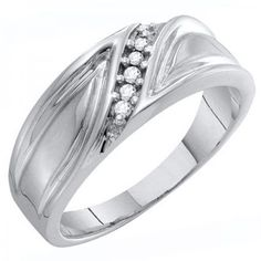 Share and get $20 off your order of $100 or more. 0.10 Carat (ctw) 10k White Gold Round White Diamond Men's Wedding Anniversary Band 1/10 CT - Dazzling Rock #https://www.pinterest.com/dazzlingrock/