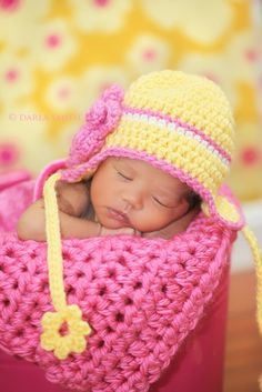 Newborn Earflap Hat -- Baby Girl Yellow Hat With Hot Pink Triple Layered Flower Crochet Bebe, Crochet Baby Hats, Crochet For Kids, Mellow Yellow, Pink Yellow, Hot Pink, Crochet Crafts, Crochet Projects, Kind Photo