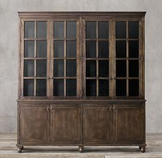 Annecy Metal-Wrapped 4-Door Glass Sideboard & Hutch