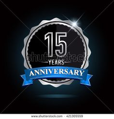 15th silver anniversary logo, 15 years anniversary celebration with blue ribbon. - stock vector
