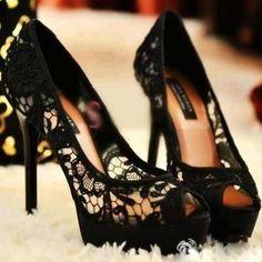 Lace Love. #Black #Stilettos #Lace