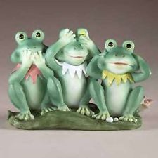 FROG TRIO FIGURINES SEE HEAR AND SPEAK NO EVIL