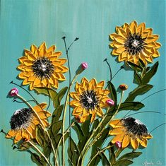 Original Modern Yellow Sunflowers Acrylic Heavy Impasto Palette Knife Painting. Tittle: Sunflowers Size 24 x 24 x 1.4. Gallery back wrapped stretched canvas, black painted edges. Medium: Mixed Media, acrylic, Acrylic impasto. Dominant Colors: yellow, brown, Blue, Teal, gray, black,