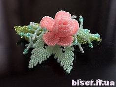 how to weave beaded flowers, leaves of beads, rose beaded master class (Russian)