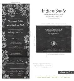 Chalkboard Indian wedding invitations