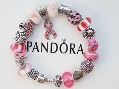 Authentic Pandora Silver Bracelet with European Charms Breast Cancer Pink Ribbon #PANDORA #Charm