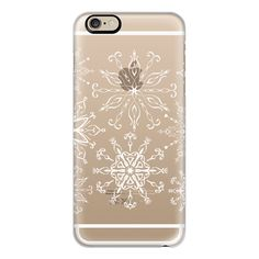 iPhone 6 Plus/6/5/5s/5c Case - Dainty Snowflakes (transparent) ($40) ❤ liked on Polyvore featuring accessories, tech accessories, iphone case, apple iphone cases, transparent iphone case and iphone cover case