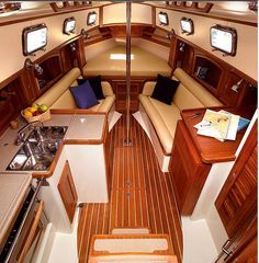 small liveaboard sailboat interior