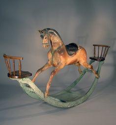 deep curve, rather long rockers...  Antique Rare Antique Rocking Horse, 19th century