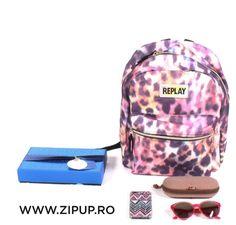 Material Poliester 600D   Dimensiune 41x30x16 cm   Greutate 330 g   Culoare Multicolor leopard allover   Garantie 60 zile Cool Backpacks, Replay, Zip Ups, Bags, Handbags, Bag, Totes, Hand Bags