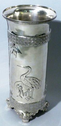 Tiffany Vase ~ c.1870's. Beautiful Gilded Age silver vase, with stork motif. ~~ {cwl}