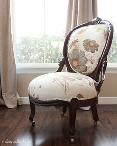 Hand Carved Antique Victorian Chair   Classic Upholstered Unexpected Cream  Vintage Aqua Green Brown Whimsical Romantic Country Armchair