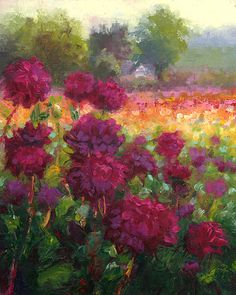 """Boogie Nites, Dahlia Landscape Plein air oil painting on Canvas, 8x10 inches.  """"The variety in the foreground of this painting, Boogie Nites, had unreal color. I've never seen such a color in nature. Somewhere between true magenta and warm violet, with the sun turning the tippie-tips the strongest pink I've ever seen. """" ~Tali"""