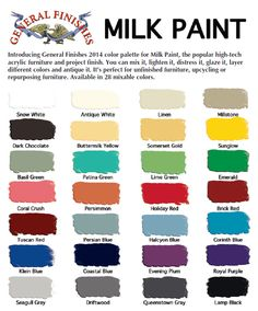 Color Chart for General Finishes Milk Paint. Which is your favorite color??
