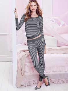 The Fireside Long Jane Pajama, black/grey metallic stripe, size M