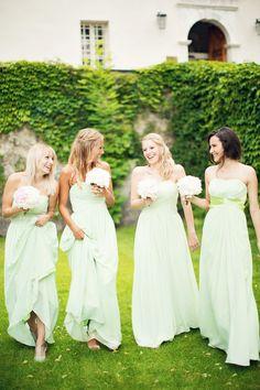 Peaches and Mint bridesmaid dresses Wedding Wishes, Wedding Bells, Wedding Bridesmaids, Wedding Gowns, Green Bridesmaids, Wedding Mandap, Wedding Receptions, Perfect Wedding, Dream Wedding