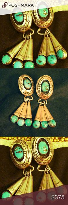 Navajo turquoise earrings Gorgeous!!! Navajo authentic turquoise earrings.  Bought from the four corners while vacationing Jewelry Earrings