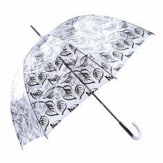 Paraguas transparente largo estampado hojas